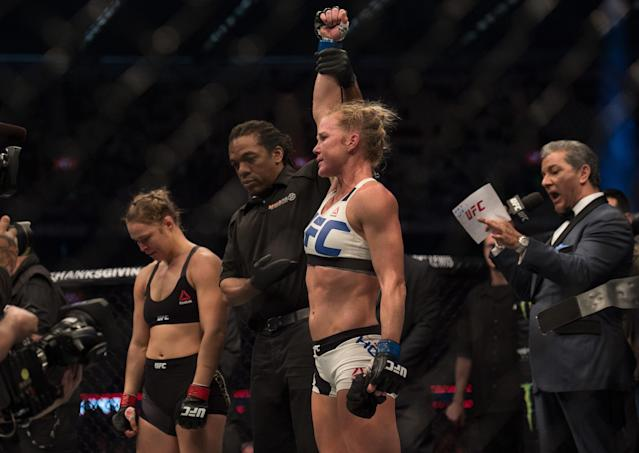 Ronda Rousey's UFC dominance came to a shocking halt in November 2015, when Holly Holm stripped her of the bantamweight belt with a brutal kick to the head. (Getty)