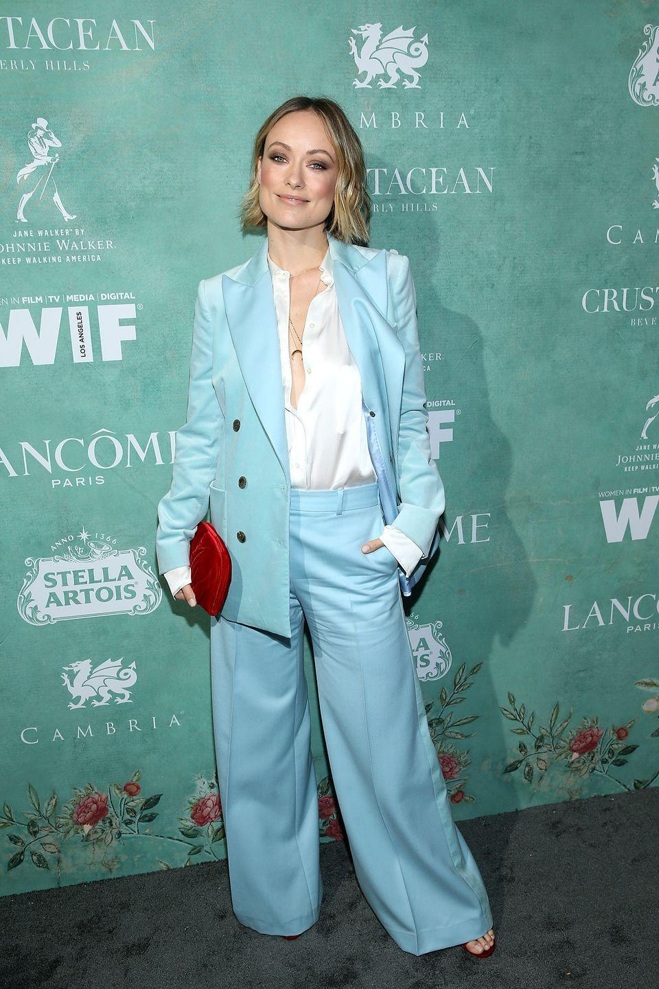 <p>Wilde rocked a stunning powder blue trousers suit by Bella Freud for the annual event, hosted in California.</p><p>She teamed the look with a white silky shirt, open-toe sandals and a red clutch bag. </p>