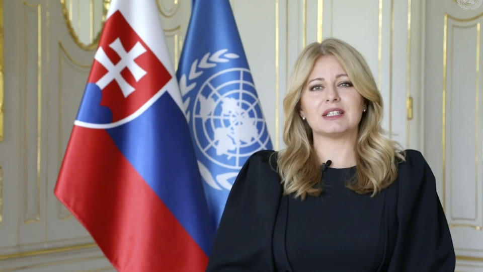 In this image taken from video provided by UN Web TV, Slovakia President Zuzana Caputova remotely addresses the 76th Session of the United Nations General Assembly at U.N. headquarters in New York on Tuesday, Sept. 21, 2021. (UN Web TV via AP)