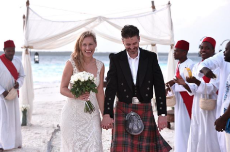 Jock and Lauren Zonfrillo on their wedding day as Jock urges parents to support one another through premature birth experience.