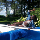 """<p>The Oscar winner may not have worn the red, white, and blue but she was rocking the stripes on her bikini with an edgy denim shirt thrown over as she celebrated the Fourth in a """"#TotallyCandidPhoto."""" (Photo: <a rel=""""nofollow noopener"""" href=""""https://www.instagram.com/p/BWJhwCUDi5p/?amp%3Bhl=en"""" target=""""_blank"""" data-ylk=""""slk:Lupita Nyong'o via Instagram"""" class=""""link rapid-noclick-resp"""">Lupita Nyong'o via Instagram</a>) </p>"""