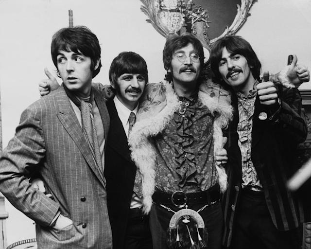 The four members of the BEATLES giving a press conference upon the release of their new album SERGENT PEPPER'S LONELY HEARTS CLUB BANDS on June 1st. (Keystone-France/Gamma-Keystone via Getty Images)