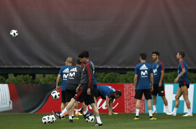 Spain's head coach Fernando Hierro takes part during a training session of Spain at the 2018 soccer World Cup in Krasnodar, Russia, Friday, June 22, 2018. (AP Photo/Manu Fernandez)