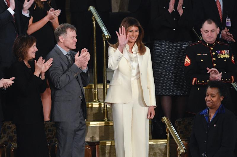 US First Lady Melania Trump was greeted by warm applause ahead of the State of the Union address (AFP Photo/SAUL LOEB)