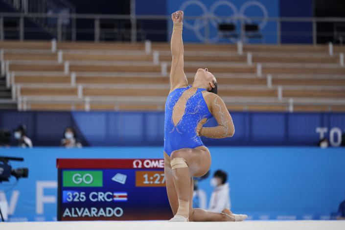 Luciana Alvarado, of Costa Rica, performs on the floor exercise during the women's artistic gymnastic qualifications at the 2020 Summer Olympics, Sunday, July 25, 2021, in Tokyo. / Credit: Ashley Landis / AP