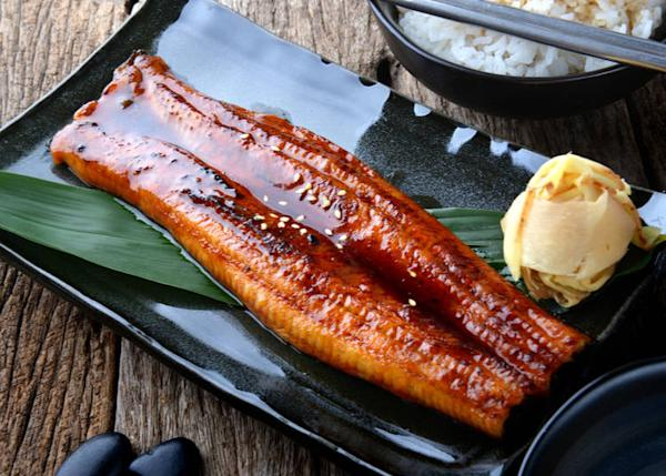 Unagi is freshwater eel which is deboned, grilled and served over rice.