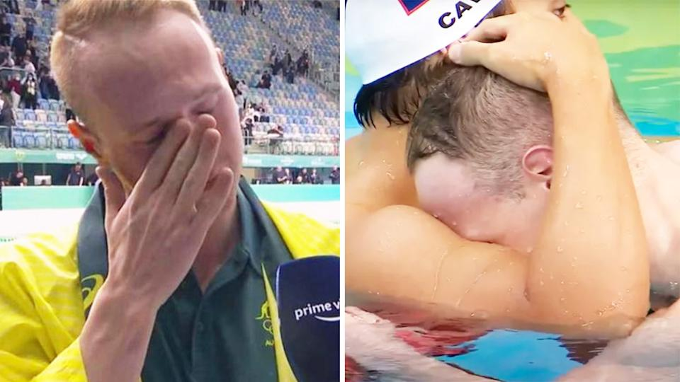 Matt Wilson (pictured left) crying during an interview and (pictured right) after his swimming race.