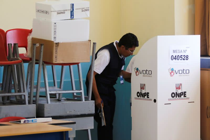 Peruvians vote to form a new Congress, in Lima