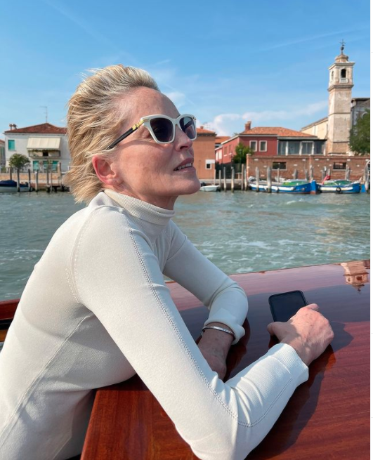 Sharon Stone on a boat