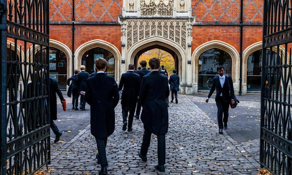 Schoolboys in a quad at Eton College
