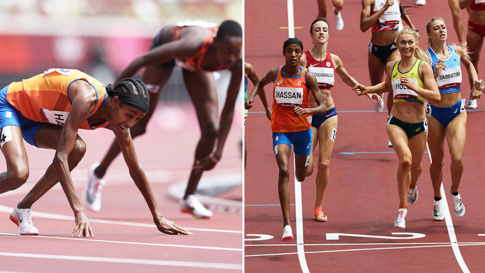 Sifan Hassan got back up after the fall and still won the heat. Image: Getty