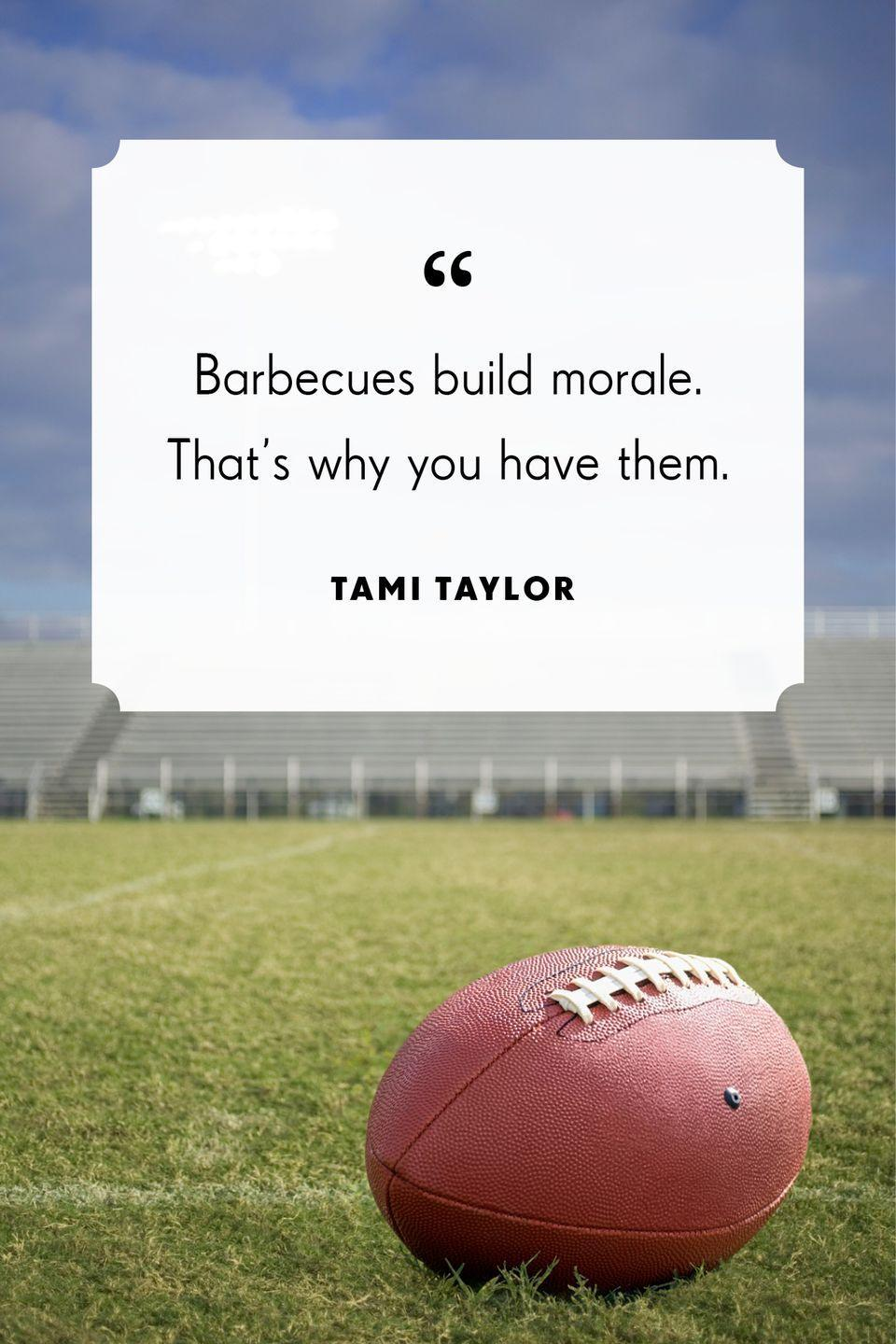 """<p>""""Barbecues build morale. That's why you have them.""""</p>"""