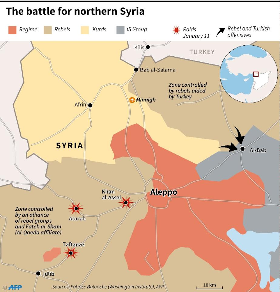 Zones controlled by different factions in northern Syria (AFP Photo/Thomas SAINT-CRICQ, Sophie RAMIS)