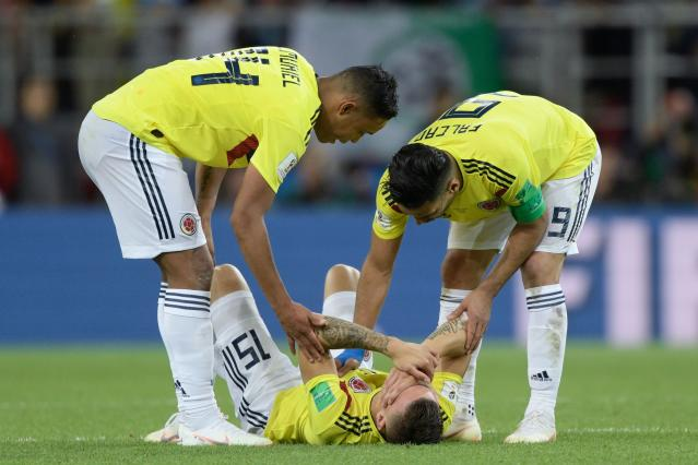 <p>Colombia's midfielder Mateus Uribe lies on the ground after the penalty shootout at the end of the Russia 2018 World Cup round of 16 football match between Colombia and England at the Spartak Stadium in Moscow on July 3, 2018. (Photo by Juan Mabromata / AFP) </p>