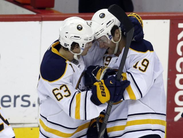 Buffalo Sabres left wing Tyler Ennis (63) and center Cody Hodgson (19) celebrate after the shootout portion of an NHL hockey game, Sunday, Jan. 12, 2014, in Washington. Both Ennis and Hodgson scored goals, and the Sabres won 2-1. (AP Photo/Alex Brandon)