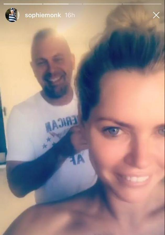 John and Sophie was seen laughing while he got her ready for the spray tan. Source: Instagram