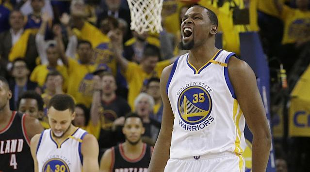 """<p>Golden State Warriors star Kevin Durant will miss Game 2 of their first-round series against the Portland Trail Blazers due to a starined left calf, <a href=""""https://twitter.com/ESPNSteinLine/status/854854682337923072"""" rel=""""nofollow noopener"""" target=""""_blank"""" data-ylk=""""slk:according"""" class=""""link rapid-noclick-resp"""">according</a> to ESPN's Marc Stein.</p><p>Durant did not participate in Wednesday's shootaround. He also missed Monday's formal workouts and received treatment on Tuesday</p><p>The Warriors won Game 1 on Sunday night with a final score of 121–109. Durant sustained the injury in the game, where he finished with 32 points and 10 rebounds.</p><p>During the regular season, Durant missed 19 games with a left knee injury. He returned for the last three regular season games.</p>"""