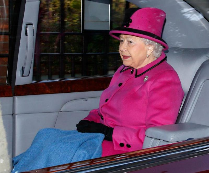 The Queen opted to arrive at the service in a car. Photo: Getty Images