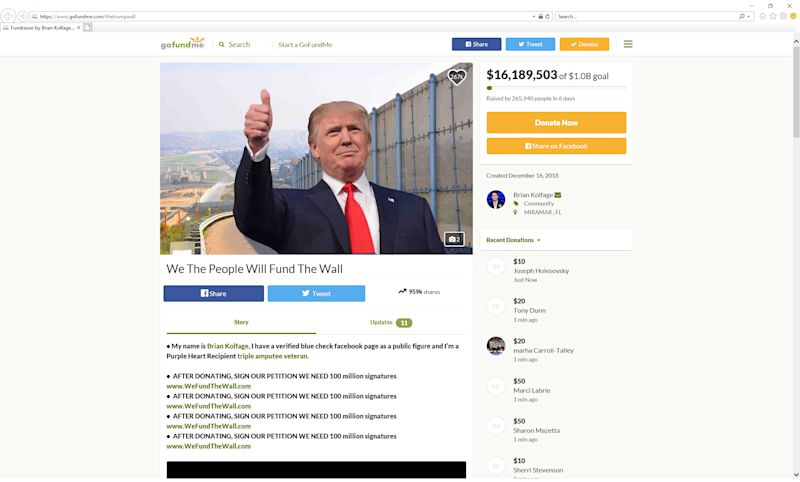 Screenshot of the gofundme campaign 'We The People Will Fund The Wall.'
