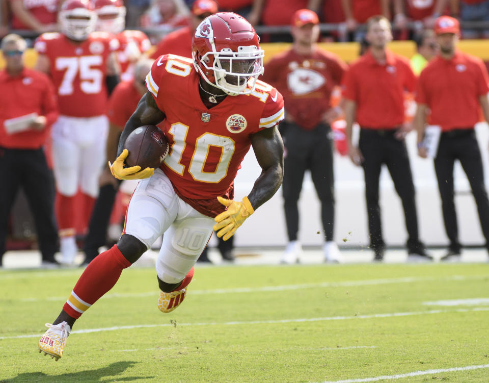 Receiver Tyreek Hill and the Chiefs have been very good, they just haven't covered the spread that often lately. (AP Photo/Reed Hoffmann)