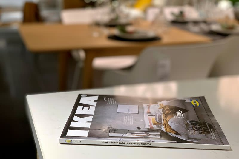 FILE PHOTO: IKEA catalogue is seen on showroom kitchen counter on outskirts of Stockholm