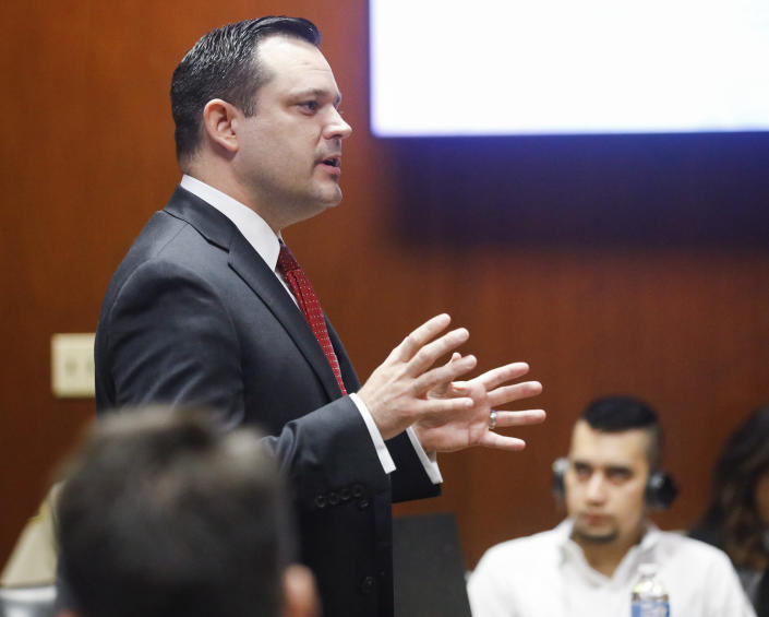 Poweshiek County Attorney Bart Klaver makes his opening statement during the trial of Cristhian Bahena Rivera at the Scott County Courthouse in Davenport, Iowa, on Wednesday, May 19, 2021. Rivera is charged with first-degree in the death of Mollie Tibbetts. (Jim Slosiarek/The Gazette via AP, Pool)
