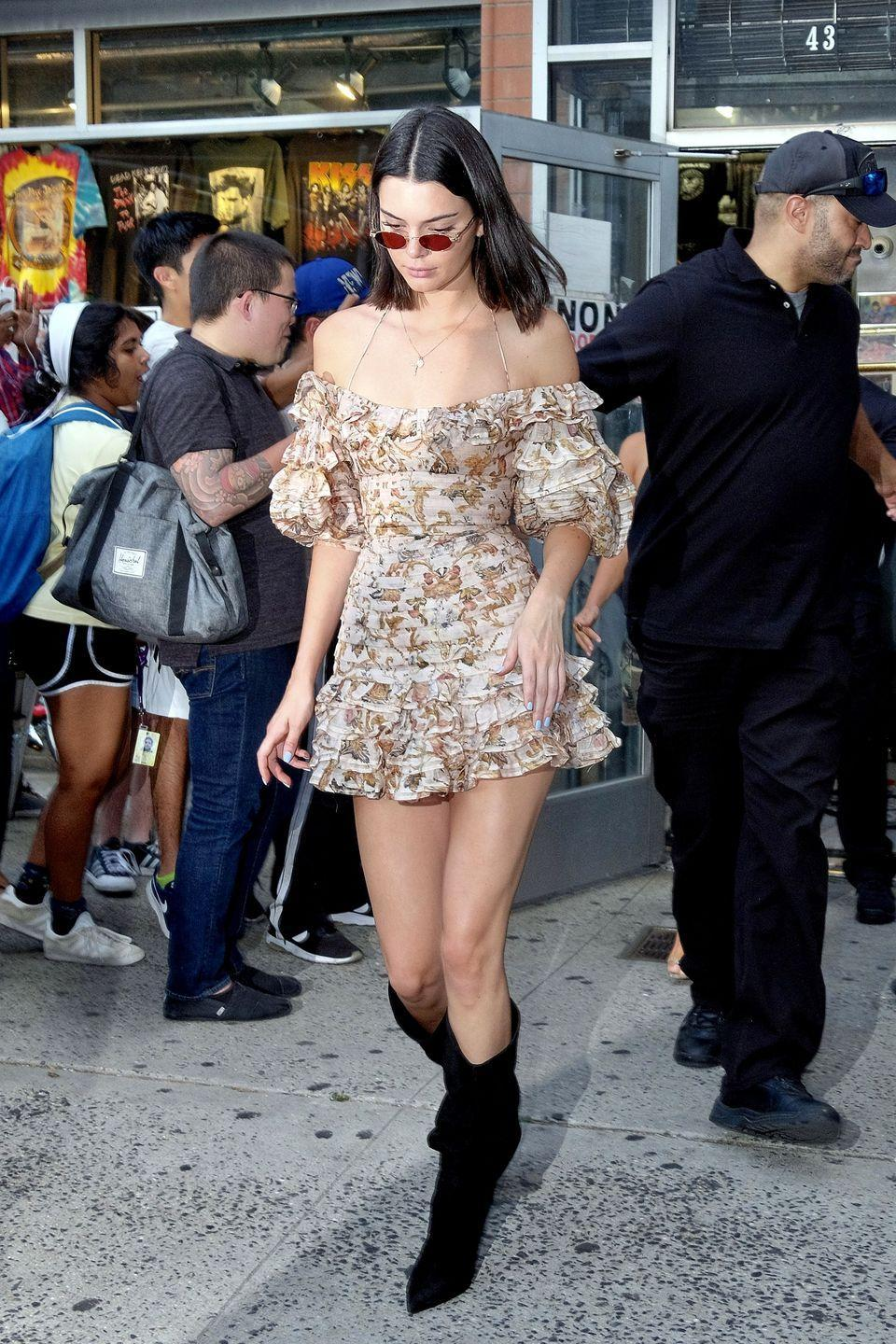<p>Kendall steps out in all the ruffles in New York with her sister Kim, August 2017 </p>