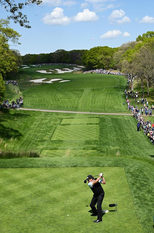 Phil Mickelson of the United States plays his shot from the fourth tee during the first round of the 2019 PGA Championship at the Bethpage Black course on May 16, 2019 in Farmingdale, New York. (Photo by Stuart Franklin/Getty Images)