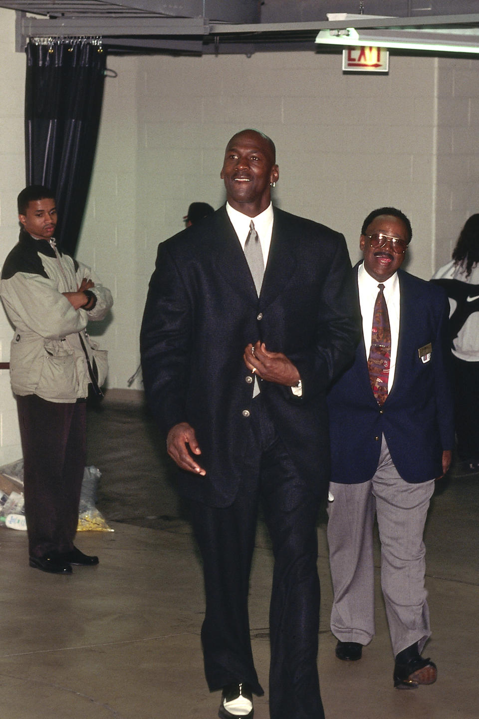 Michael Jordan arrives at the arena before Game 5 of the 1997 Eastern Conference Finals against the Miami Heat on May 28, 1997, in Chicago, Illinois. (Photo by Steve Woltman/NBAE via Getty Images)