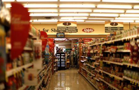 An isle of a Ralphs grocery store, which is owned by Kroger Co, is pictured ahead of company results in Altadena