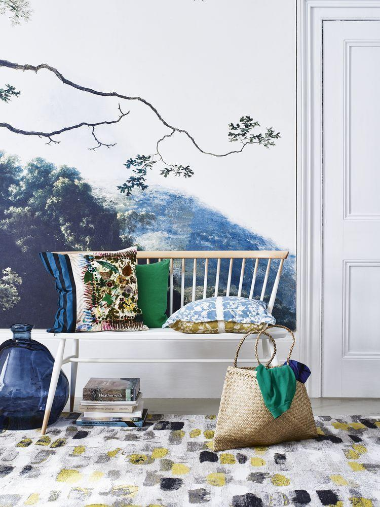 """<p>Wall murals are an easy way to turn a plain wall into a unique artistic expression. Unlike <a href=""""https://www.housebeautiful.com/uk/house-beautiful-collections/g36172810/homebase-wallpaper/"""" rel=""""nofollow noopener"""" target=""""_blank"""" data-ylk=""""slk:wallpaper"""" class=""""link rapid-noclick-resp"""">wallpaper</a>, murals are digital prints created using photography and imagery that can be blown up as you wish. Whether you're after head-turning prints or bespoke designs, they will make any hallway space pop. </p><p>Pictured: Trees One wallpaper fresco, £85/sq m, <a href=""""https://www.angelandboho.com/trees-one-wallpaper-fresco-13086-p.asp"""" rel=""""nofollow noopener"""" target=""""_blank"""" data-ylk=""""slk:Angel & Boho"""" class=""""link rapid-noclick-resp"""">Angel & Boho</a><br></p>"""