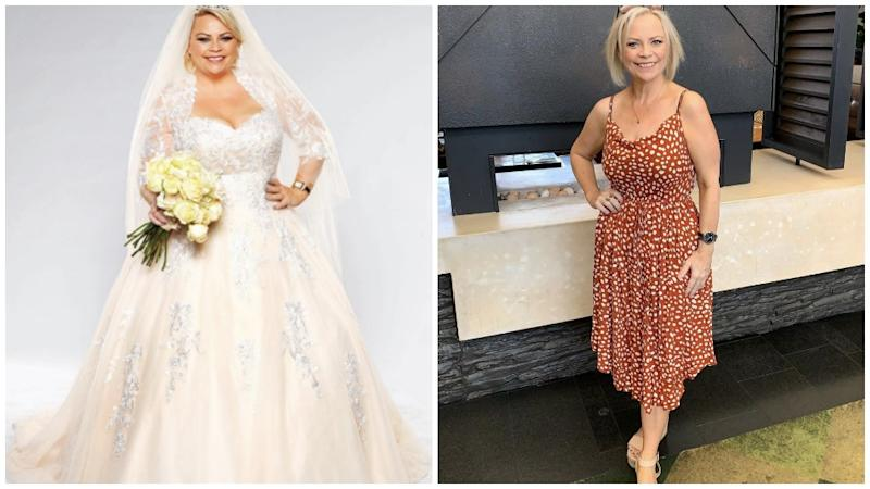 Married At First Sight Jo McPharlin in her wedding dress and in an orange polka dot dress showing off her weight loss