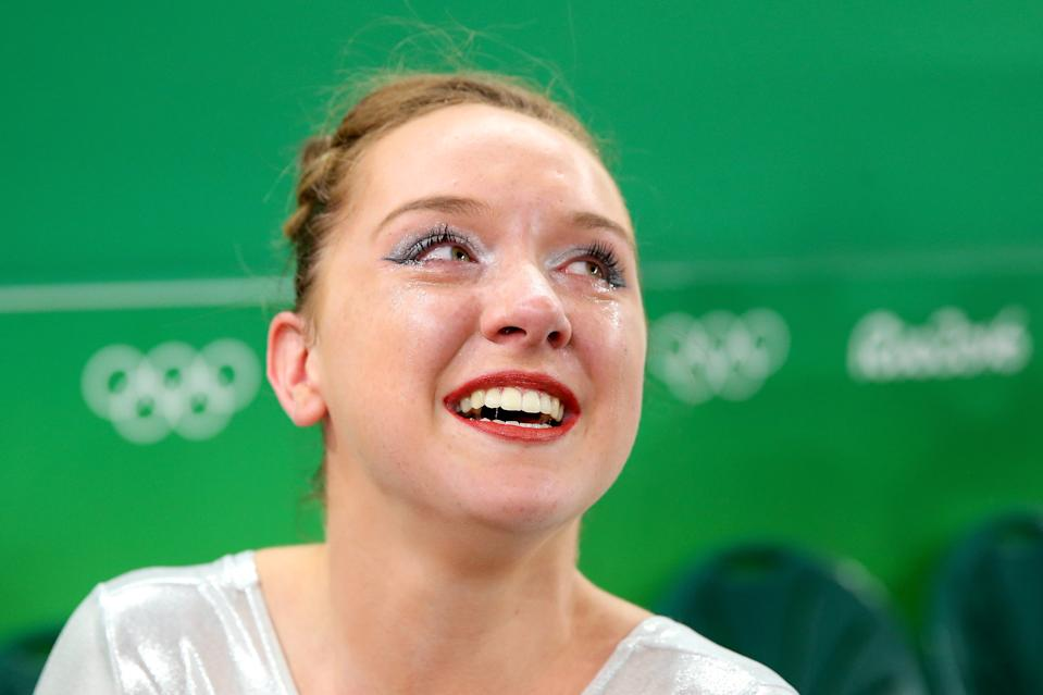 RIO DE JANEIRO, BRAZIL - AUGUST 16: Amy Tinkler of Great Britain celebrates winning the bronze medal after competing on the Women's Floor final on Day 11 of the Rio 2016 Olympic Games at the Rio Olympic Arena on August 16, 2016 in Rio de Janeiro, Brazil. (Photo by Alex Livesey/Getty Images)