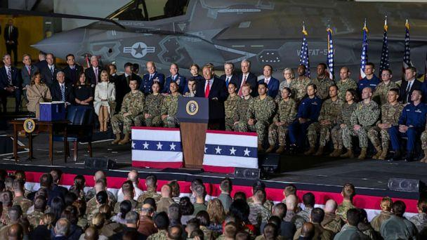 PHOTO: President Donald J. Trump speaks on stage during the signing ceremony for the National Defense Authorization Act for Fiscal Year 2020 inside Hangar Six at Joint Base Andrews in Suitland, M.D., Dec. 20, 2019. (Erik S. Lesser/EPA via Shutterstock)