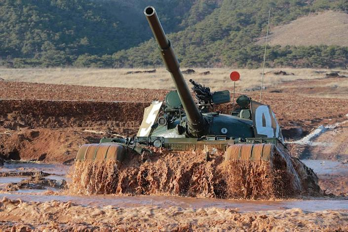 <p>A tank is seen during the Korean People's Army tank crews' competition, March 11, 2016. (KCNA/Reuters) </p>