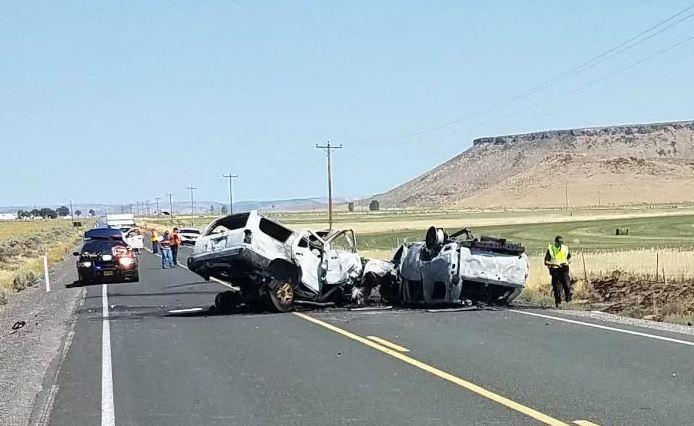 The scene of the traffic accident that killed seven family members.