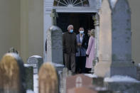 President-elect Joe Biden and his wife Jill Biden pause to talk with Ashley Biden and her husband Howard Krein as they walk from St. Joseph on the Brandywine Roman Catholic Church in Wilmington, Del., Friday, Dec. 18, 2020. Today is the anniversary of Neilia and Naomi Biden's death. (AP Photo/Carolyn Kaster)