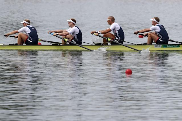 <p>Alex Gregory, Mohamed Sbihi, George Nash and Constantine Louloudis of Great Britain compete in the Men's Four Final A on Day 7 of the Rio 2016 Olympic Games at Lagoa Stadium on August 12, 2016 in Rio de Janeiro, Brazil. (Getty) </p>