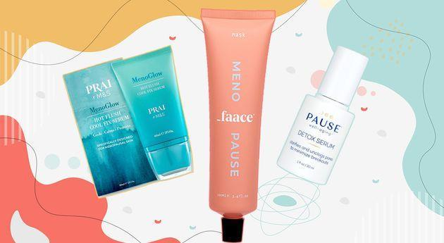 M&S X Pria MenoGlow, Menopause Faace and Pause Well Aging. (Photo: Getty/HuffPost UK)