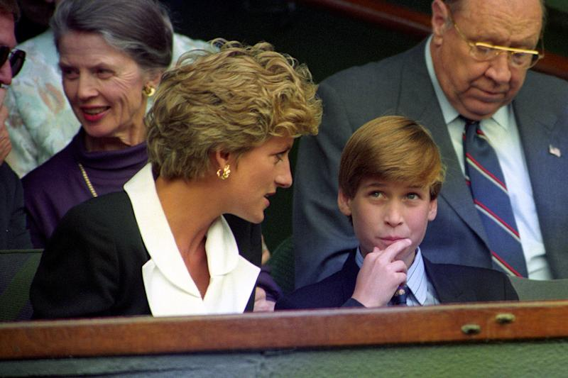 Princess Diana with Prince William in the royal Box Centre court for the ladies singles final on July 2nd, 1994. Photo courtesy of Getty Images.