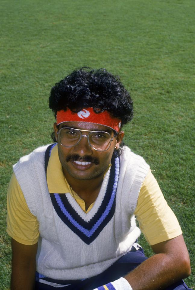 Indian cricketer Narendra Hirwani during the first Test against New Zealand at M.Chinnaswamy Stadium, Bangalore, India, 12th-17th November 1988. India won the match by 172 runs. (Photo by Simon Bruty/Getty Images)