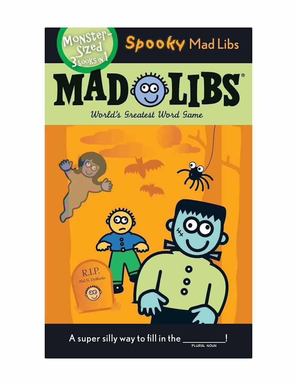 """<p><strong>Mad Libs</strong></p><p>amazon.com</p><p><strong>$5.99</strong></p><p><a href=""""https://www.amazon.com/dp/0843120363?tag=syn-yahoo-20&ascsubtag=%5Bartid%7C10072.g.33543751%5Bsrc%7Cyahoo-us"""" rel=""""nofollow noopener"""" target=""""_blank"""" data-ylk=""""slk:Shop Now"""" class=""""link rapid-noclick-resp"""">Shop Now</a></p><p>Here's another game that can easily be played during a socially-distanced get-together. Just put one person in charge of reading the prompts and recording the answers. The silly, spooky result is sure to elicit a roaring round of laughter. </p>"""