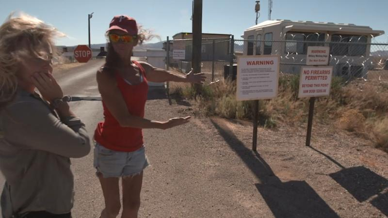 The signs warning unwanted visitors not to trespass at the Nevada Test and Training Range. (Yahoo News)