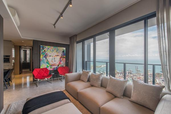 View of the sea from the show suite of a three-bedroom unit