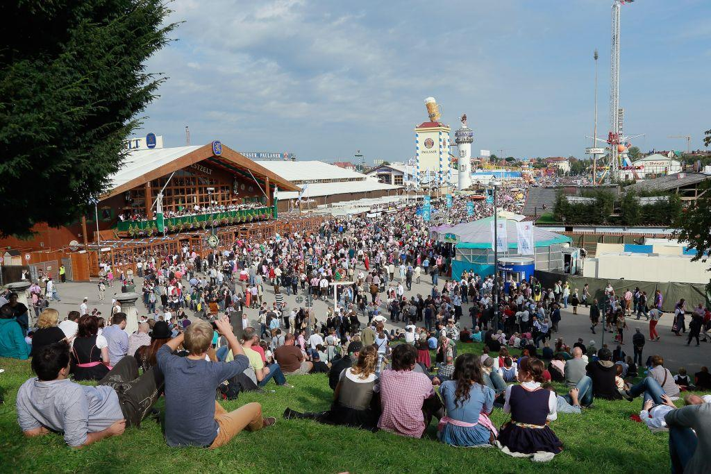 A view of the Oktoberfest beer festival from Bavaria hill in Munich, Germany.