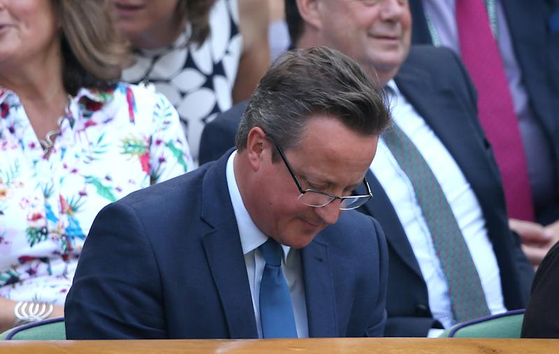 David Cameron in the royal box on centre court on day five of the Wimbledon Championships at the All England Lawn Tennis and Croquet Club, Wimbledon.