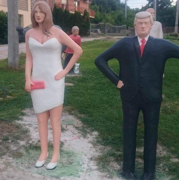 Melania and Donald Trump statue created by Stevo Selak