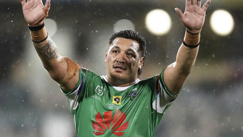 Josh Papalii (pictured) waves to fans after the game.