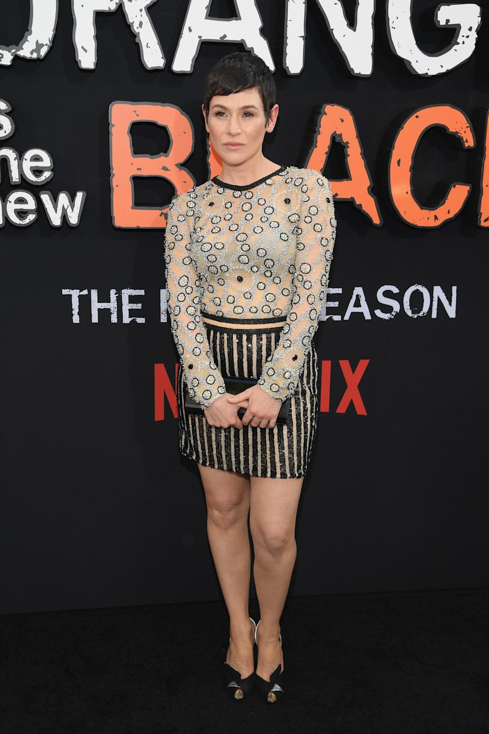 "Yael Stone attends the ""Orange Is The New Black"" Final Season World Premiere at Alice Tully Hall, Lincoln Center on July 25, 2019 in New York City."
