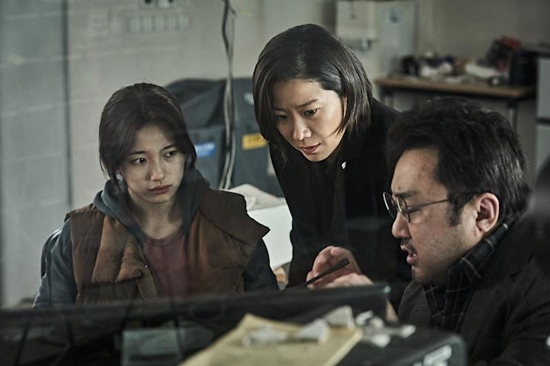 (From left to right) Bae Suzy as Choi Ji-young, Jeon Hye-jin as Jun Yoo-kyung and Don Lee as Kang Bong-rae in South Korean volcanic disaster movie Ashfall. (PHOTO: Encore Films)